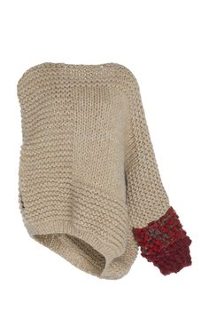 This **Tuinch** Hand Knit Sweater features a v-neckline, a chunky knit detail and asymmetrical hem.