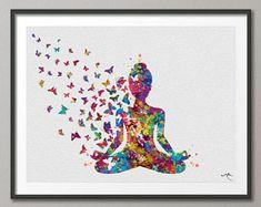 12 Yoga Poses for Men that prove men should also do yoga! Girl Watercolor, Yoga Kunst, Yoga Art, Free Prints, Yoga Poses, Butterflies, Etsy, Drawings, Illustration