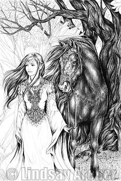 A fairy, and her equine companion, taking a walk through an enchanted forest. Only 15 Limited Edition Prints Available! Horse Coloring Pages, Colouring Pages, Coloring Books, Coloring Pages For Grown Ups, Adult Coloring Pages, Dragons, Mandala, Unicorn Art, Black White Art