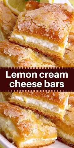 Lemon cream cheese bars are a variation of the traditional lemon bars, made with crescent roll dough and a lemony cream cheese filling. This recipe is wonderful! This recipe is wonderful! A new twist on Lemon Cream Cheese Frosting, Cream Cheese Brownies, Cream Cheese Recipes, Cream Cheese Filling, Cinnamon Cream Cheeses, Easy Cream Cheese Desserts, Chewy Brownies, Lemon Recipes, Easy Cake Recipes