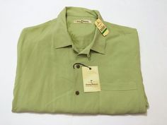 Tommy Bahama L Men's Royal Bermuda Camp Green Tea Silk Short Sleeve NEW NWT #TommyBahama #ButtonFront