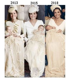 Catherine Middleton the Duchess Of Cambridge holding all three children when they were babies at their baptisms Kate Und William, Prince William And Catherine, Princess Katherine, Princess Charlotte, Lady Diana, Duchess Kate, Duchess Of Cambridge, Looks Kate Middleton, Kate Middleton Wedding