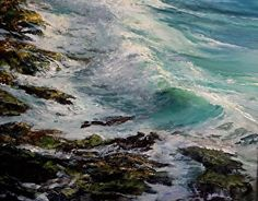 Gil Dellinger's seascape captures the swirling, churning tides of the Pacific along Laguna Beach Seascape Paintings, Nature Paintings, Landscape Paintings, Laguna Beach, Pacific Ocean, Surfing, California, Watercolor, Artwork
