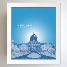 South Dakota Skyline State Capitol Landmark - Modern Gift Decor Art Poster 8x10. $20.00, via Etsy.