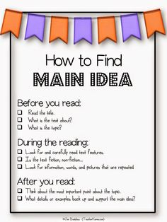 How to find main idea with these free anchor charts, posters, strategies, and activities to improve reading comprehension in your classroom. Reading Lessons, Reading Strategies, Reading Skills, Teaching Reading, Guided Reading, Math Lessons, Teaching Main Idea, Teaching Themes, Teaching Resources
