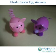 Create pig, mouse, cat, dog, or other animal from those inexpensive plastic Easter eggs. Great for children's Easter baskets.