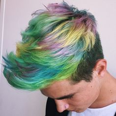 Kian Lawley rockin' these rainbow locks.    ✂️ The perfect Men's Hairstyle is just a Hairflip away.