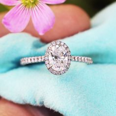 Tiffany & Co Soleste Halo Oval Engagement Ring in Platinum .77 Carat