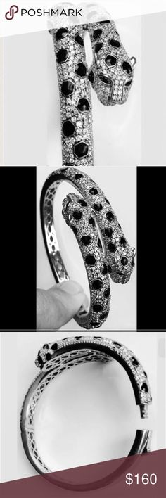 Leopard Bangle Sterling Silver Bracelet Elegant lady's Silver Bracelet with Cubic Zirconia and Black Onyx Jewelry Bracelets