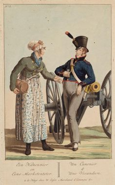 A Canonier (Gunner) and a Vivandiere (civilian provisioner to an army). Approx early 1810s, French