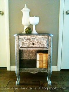 Tin foil nightstand, yes, you read that right- tin freaking foil.