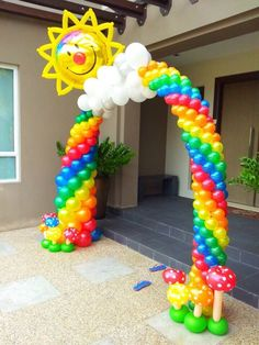 Rainbow balloon arch. Cute for bday party or Girl Scout bridging event.