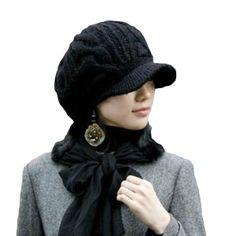 LOCOMO Men Women Boy Girl Slouchy Cabled Pattern Knit Beanie Crochet Rib Hat  Brim Newsboy Cap Warm Black by LOCOMO Hats Fashionable knit brim newsboy hat  ... 9001f11238e3