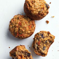 These muffins, from reader Fawn Dixon of Fairbanks, Alaska, are surprisingly moist, even though they're low in fat, thanks to nutritious, flavorful add-ins like carrots, banana, and raisins.