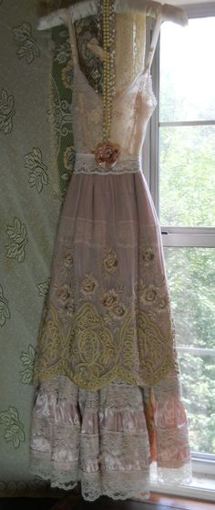 Pink  embroidered dress cream  silk lace  slip   rose  romantic medium  by vintage opulence on Etsy