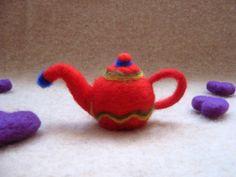 Cute Red Felt Teapot Miniature of Pure by MariolasFeltDesign