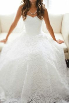 Lace, lace and more lace! Bright white with strapless sweetheart neckline