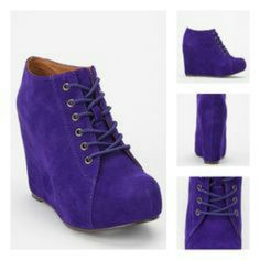 Jeffrey campbell lavender blue 99 lace-up wedge bo Jeffrey cambell blue suede 99 lace-up wedge bootie. Only worn once Shoes Lace Up Boots