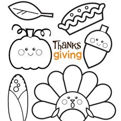 Adorable Thanksgiving colouring, good for preschoolers or early schoolage kids.