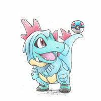 Totodile wearing a Feraligatr Kigurumi         Pokemon by BirdychuArt on deviantART