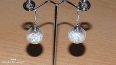 Globe Glass Bottle Earrings. White. Nickel and by NarwhalBlueberry