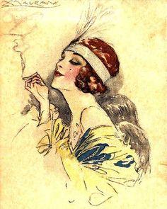 Ideas For Art Nouveau Woman Illustration Art Deco Illustration, Woman Illustration, Vintage Illustrations, Fashion Illustrations, Art Nouveau, Images Vintage, Vintage Art, Pinturas Art Deco, Art Deco Posters