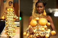 "Scenes from the ""Fashion for Peace"" show in Nairobi ... gourd gown by Nigerian designer Bayo Adegbe."