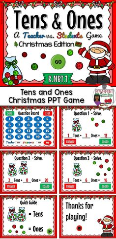Identifying numbers in the the Christmas themed place value game. Students identify tens and ones in numbers.