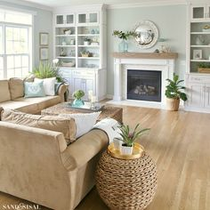 Coastal Familyroom and Fireplace Makeover. Coastal Family Room and Fireplace Makeover Beach Living Room, Living Room Colors, Home Living Room, Living Room Designs, Living Room Furniture, Furniture Decor, Brown Furniture, Cottage Living, Furniture Removal