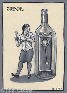Woman, Wine and Wine O' Clock - Giclee Print Woman Wine, Wine O Clock, Decorative Bells, Giclee Print, Gallery, Artist, Artwork, Women, Work Of Art
