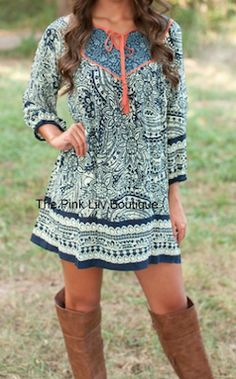 Printed long sleeve Fall dress