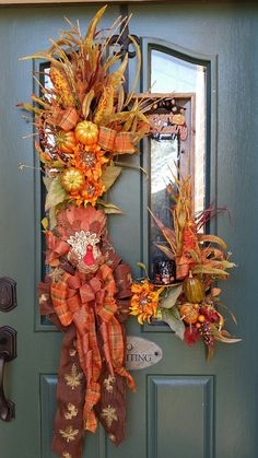 Fall Wreath Autumn Wreath Harvest Wreath Square by FrontDoorWhimsy