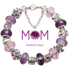 SALE PRICE $49.99 - Mother Bracelet Purple and Pink Glass Bead Silver-tone Complete Charm Beaded Bracelet Jewelry
