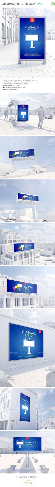 Billboard / Poster Mockup  — PSD Template #billboard #display • Download ➝ https://graphicriver.net/item/billboard-poster-mockup/15037617?ref=pxcr