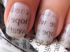 Newspaper Nail Art Tutorial - I have tried this before. It was very easy.