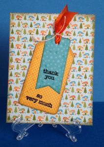 Thank you card with patterned paper from Happy Camper by Doodlebug Designs. Tag, You're It die by Lawn Fawn. Greeting from Thank You Sayings by Hero Arts.