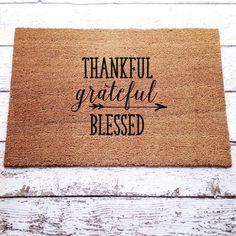 Thankful Grateful Blessed Welcome Mat / Doormat Door by LoRustique