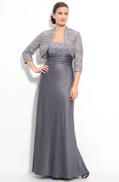 Nordstrom Coats - Adrianna Papell Lace Trim Satin Gown with Bolero Mob Dresses, Satin Dresses, Formal Dresses, Wedding Dresses, Pageant Dresses, Lace Bolero Jacket, Mother Of The Bride Gown, Satin Gown, Bride Gowns