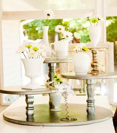 Cake Stand Rustic Silver Wedding Party or Catering Centerpiece Vintage Shabby Chic or Cupcake Stand Cake Stand Country. $235.00, via Etsy.