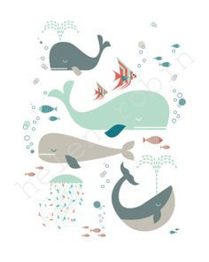 Whales Under The Sea Print by helenrobin on Etsy Sea Illustration, Whale Art, Wale, Fish Art, Nursery Wall Art, Under The Sea, Watercolor Art, Art Drawings, Web Design