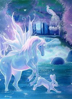 Enchanted pool, winged unicorn in a magical forest pool