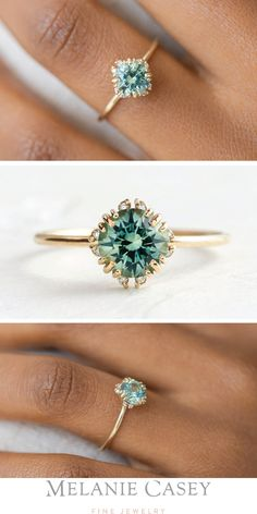 Green Sapphire Engagement Ring, Green Sapphire Ring, Dream Engagement Rings, Vintage Engagement Rings, Different Engagement Rings, Sapphire Diamond Rings, Opal Engagement Rings, Charm Diamond, Colored Engagement Rings