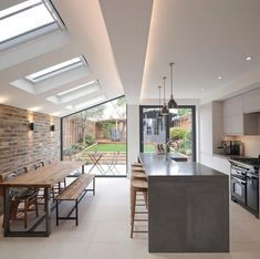 """Sarah Capes no Instagram: """"In this sweltering heat I am really missing my open plan outdoor/indoor kitchen space. ——> SWIPE for during and before——> We are a long way…"""" House Extension Design, Extension Designs, Lead Roof, Roof Light, House Extensions, Lounge Areas, Open Kitchen, Kitchen Layout, Living Area"""