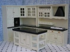 Dolls house miniature furniture cream and black kitchen with island