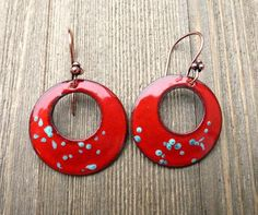 Turquoise and red copper metal enamel hoop earrings. - - McKee Jewelry Designs - 6