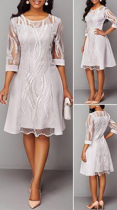 Three Quarter Sleeve Round Neck Back Zipper Lace Dress, Cute Dress Outfits, Cute Dresses, Casual Dresses, Beautiful Dresses, Short Dresses, Gown Pattern, Dress Patterns, Ankara Dress Designs, Fashion Mode