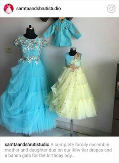 Mom n baby Indian Dresses For Kids, Gowns For Girls, Frocks For Girls, Girls Dresses, Indian Outfits, Baby Girl Dresses Diy, Mom And Baby Outfits, Kids Party Wear Dresses, Baby Frocks Designs