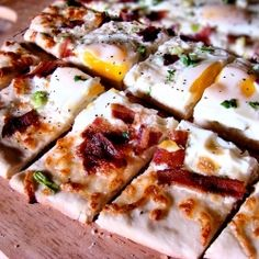 #Breakfast #pizza with #bacon, #cheese, green onions and #eggs