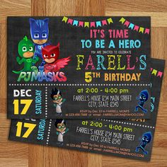 PJ Masks Invitation-PJ Masks Birthday Party by FREYADesignsStudio