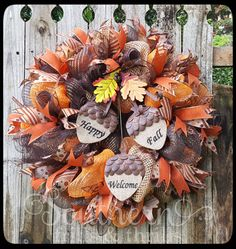 Fall Deco Mesh Wreath Autum Deco Mesh Wreath by SouthernThrills